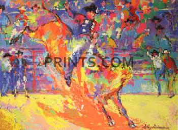 LeRoy Neiman Adriano Morales - World Champion Bull Rider Hand Pulled Serigraph