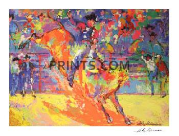 LeRoy Neiman Adriano Morales - World Champion Bull Rider Double Hand Signed by Adriano Morales and Neiman