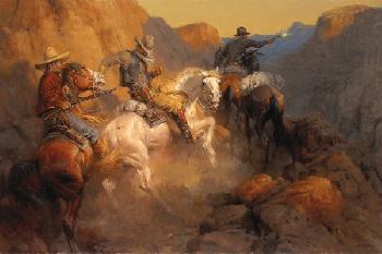 Andy Thomas Ambush on the Bandit Trail Giclee on Canvas