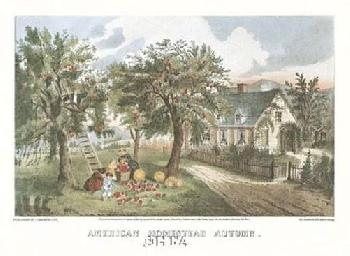 Currier and Ives American Homestead Autumn