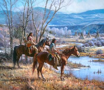 Martin Grelle Apsaalooke Sentinels Signed Open Edition on Paper