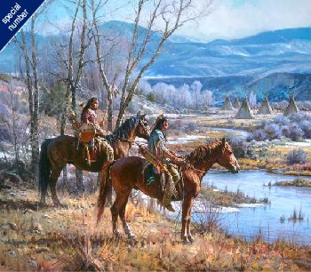 Martin Grelle Apsaalooke Sentinels Print #1/150 Giclee on Canvas