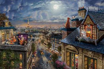 Thomas Kinkade Aristocats - Love Under the Moon SN Canvas