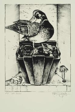 Monte Dolack Art Ducko Hand Drawn Lithograph
