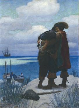 Newell Convers Wyeth At first, for something Open Edition Giclee on Canvas