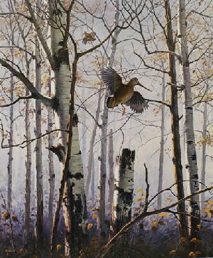 David Maass Autumn Day - Woodcock Remarque