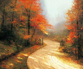 Thomas Kinkade Autumn Lane SN Canvas