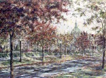Susan Amidon Autumn on Laurel Avenue Giclee on Canvas