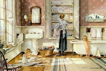 Trisha Romance Bathtime Giclee on Canvas