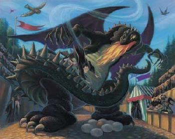 Mary Grandpre Harry Potter - Battle with the Dragon Giclee on Paper - Part of Portfolio of 7 Prints