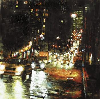 Mark Lague Bay Hill Lights Giclee on Canvas