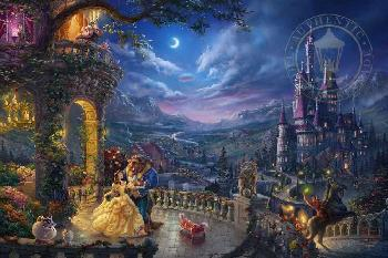 Thomas Kinkade Beauty and the Beast - Dancing in the Moonlight Examination Proof on Canvas
