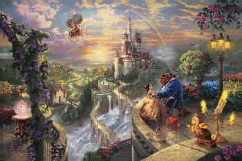 Thomas Kinkade Beauty and the Beast Falling in Love Gallery Proof on Paper