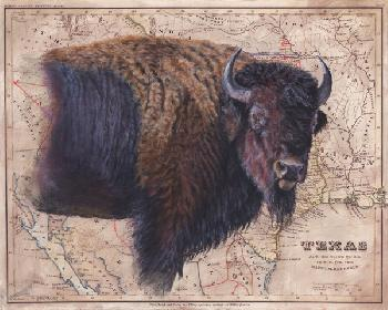 Patty Pendergast Bison Map Open Edition Giclee on Canvas