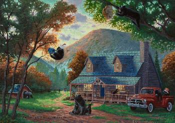 Zachary Kinkade Black Bear Bedlam Gallery Proof Canvas