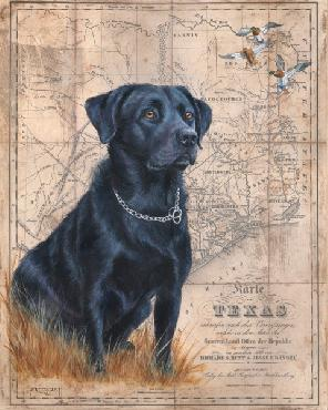 Patty Pendergast Black Lab Map Open Edition Giclee on Canvas