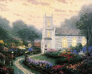 Thomas Kinkade Blossom Hill Church SN Paper