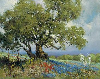 H.C. Zachry Bluebonnets and Red Flowers Giclee on Canvas