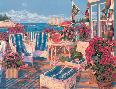 John Atwater Blue Stripes and Begonias