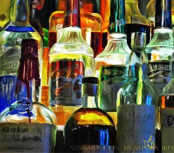Morgan Vann Phillips Bottles in the Night Open Edition on Canvas