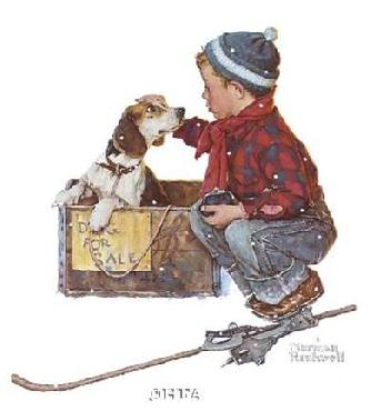 Norman Rockwell A Boy Meets His Dog