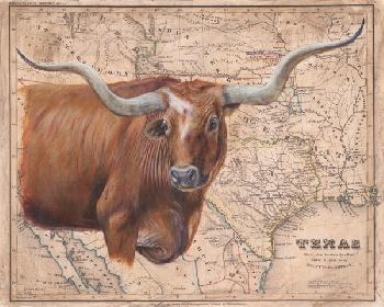 Patty Pendergast Brown Longhorn Map Open Edition Giclee on Canvas
