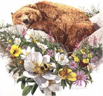 Bev Doolittle Bugged Bear WSS From Where Silence Speaks Set 1986