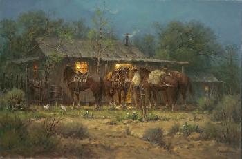 G. Harvey Bunkhouse Lights Giclee on Canvas