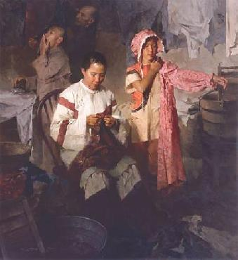 Mian Situ Calico Dress, Family Laundry, 1906 Giclee on Canvas