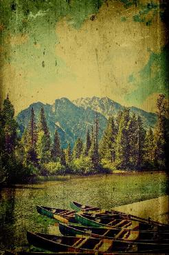 Mark A Cole Canoes in the Mountains Open Edition Canvas