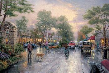 Thomas Kinkade Carmel, Sunset on Ocean Avenue SN Canvas