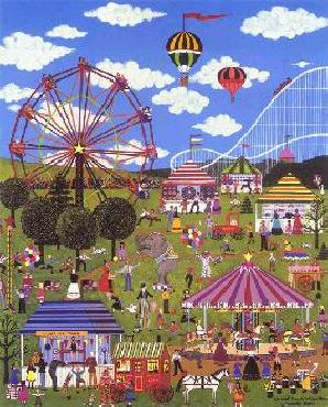 Jane Wooster Scott Carnival Time at Willow Bend Serigraph