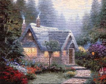 Thomas Kinkade Cedar Nook Cottage SN Canvas