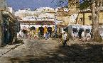Clark Hulings Chechaouene, Morocco Market Square