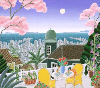 Thomas McKnight Cherry Blossom Terrace Serigraph on Paper
