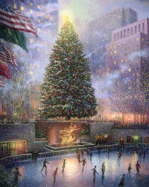 Thomas Kinkade Christmas in New York Gallery Proof on Canvas
