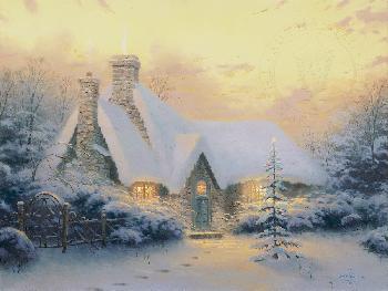 Thomas Kinkade Christmas Tree Cottage SN Paper