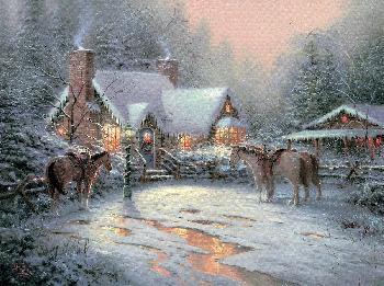 Thomas Kinkade Christmas Welcome SN Canvas