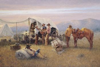 Jack Terry Chuckwagon Serenade Signed Open Edition Giclee on Canvas