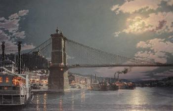 John Stobart Cincinnati - The Public Landing by Moonlight in 1884