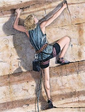 Monte Dolack Climber Hand Drawn Lithograph w/ Hand Coloring