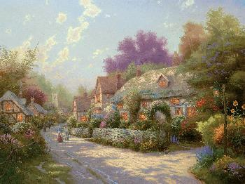 Thomas Kinkade Cobblestone Village SN Canvas