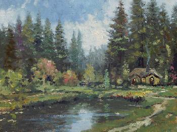 Thomas Kinkade Cottage in the Pines SN Canvas