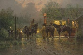 G. Harvey Cowboy Gathering Giclee on Canvas