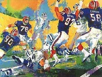 LeRoy Neiman Cowboy Bills Super Bowl Hand Pulled Serigraph