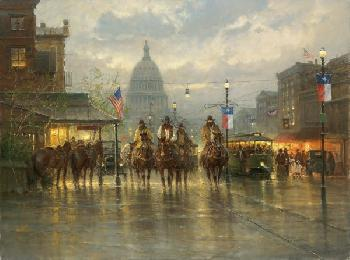 G. Harvey Cowhands on the Avenue Giclee on Canvas
