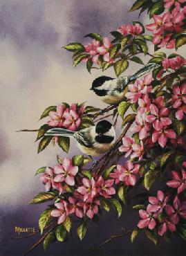 Rosemary Millette Crabapple Pair - Chickadees