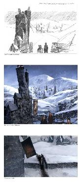 Stuart Craig Creating Hogsmeade Giclee on Paper Triptych