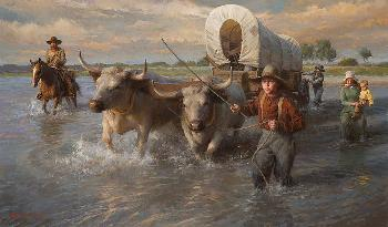 Morgan Weistling Crossing The Cheyenne River, Summer, 1850 Giclee on Canvas