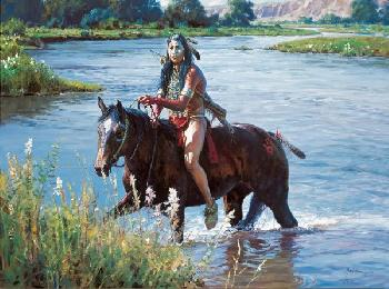 Martin Grelle Crossing the Greasy Grass Giclee on Canvas